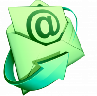 Email in envelope with arrow around